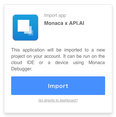 Import the project into Monaca Cloud IDE